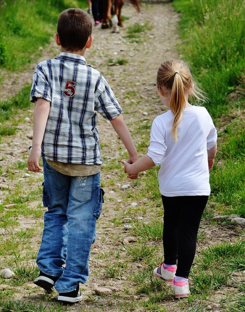 children, hand in hand, cute