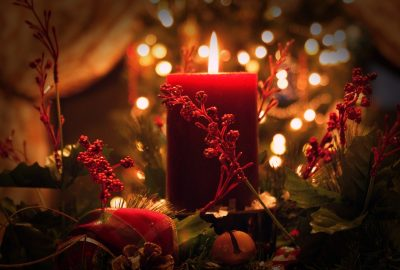 christmas, candle, red